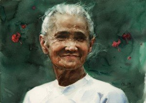 The future of the nursing homes in China depends on the treatment of the infections diseases dans Maisons de retraite en Chine watercolor-old-lady-guan-weixing-300x213